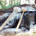 凍りつく手水場